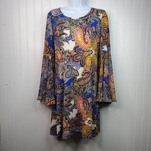 MSK Paisley Boho Split Bell Sleeve Shift Dress